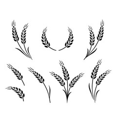 Bakery set wheat ears icon logo vector