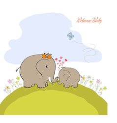 Bashower card with baelephant and his mother vector