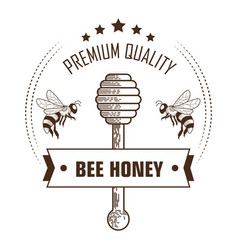 bee honey premium quality packaging label with vector image