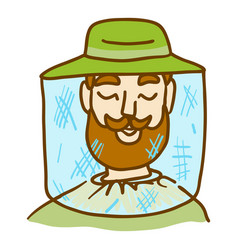 Beekeeper face icon hand drawn style vector