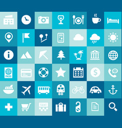 big tourism and travel icon set trendy flat icons vector image