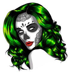 Black and white skull candy girl vector