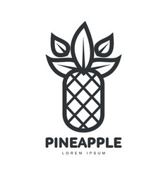 Black and white symmetric graphic pineapple logo vector