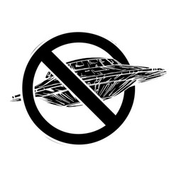 Black silhouette spaceship with symbol ban vector
