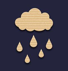 Carton paper cloud with rain drops vector image