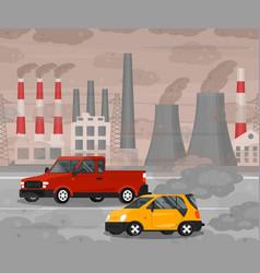 cartoon car air pollution concept card poster vector image
