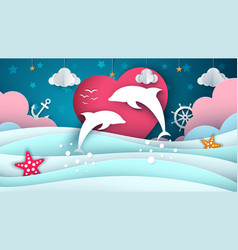 cartoon sea landscape dolphin vector image