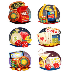 Casino decorative compositions set vector