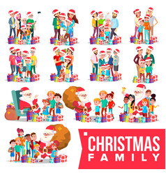christmas family portrait set full happy vector image