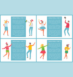 christmas party happy people dancing having fun vector image