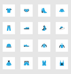 Clothes colorful icons set collection of vector