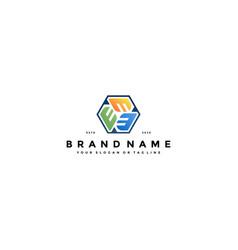 Colorful hexagon letter e logo design vector