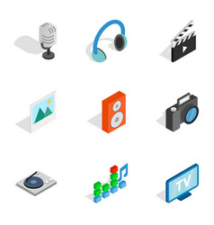 Computer technology icons isometric 3d style vector