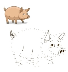 Connect dots game pig vector