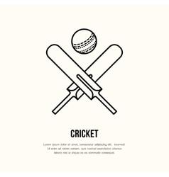 Cricket line icon Bats and ball logo vector image