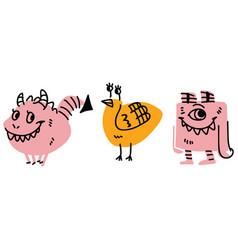 Cute kids strange monster design vector