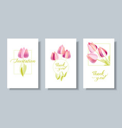 decorative textured tulip flowers card set vector image