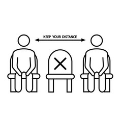 Do not sit here forbidden icon for seat social vector