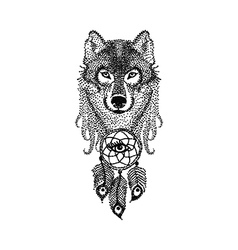 Dotwork tattoo design stylized Wolf face with vector