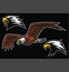 Eagle logo mascot design set pack vector