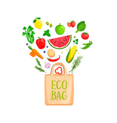eco bag with isolated vegetables and berries vector image