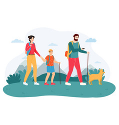 family outdoor journey happy hiking family vector image