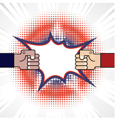 fist and competition blue red arm vector image