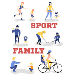 Flat family characters doing sports set vector