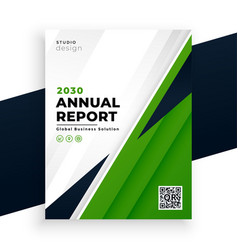 Geometric green abstract annual report flyer vector