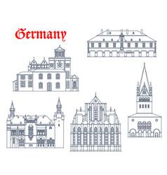 Germany landmark buildings icons aachen churches vector