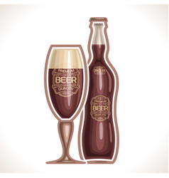 glass cup and bottle beer vector image