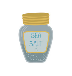 glass jar of sea salt cartoon vector image
