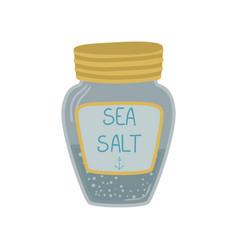 Glass jar of sea salt cartoon vector