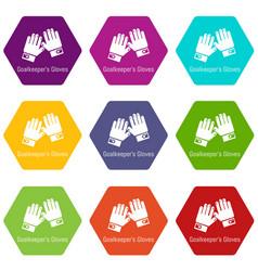 Goalkeeper gloves icons set 9 vector