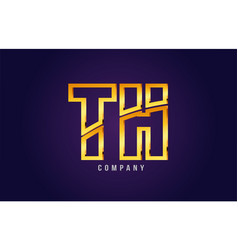 gold golden alphabet letter th t h logo vector image