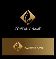 gold leaf icon logo vector image