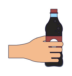 hand with soda bottle vector image