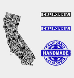 Handmade collage california state map and vector