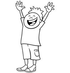 Happy boy cartoon character color book page vector