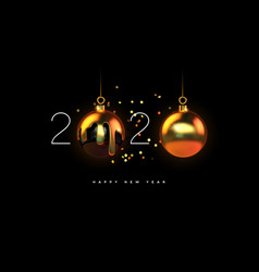 happy new year 2020 gold 3d bauble decoration vector image