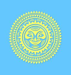 Hawaiian sun sign in polynesian style with rays vector