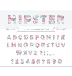hipster vibrant font stylized letters and numbers vector image