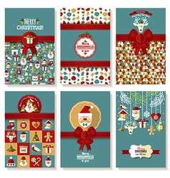 Holiday banner set of Christmas in flat style vector image