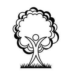 Human figure with tree plant ecological icon vector