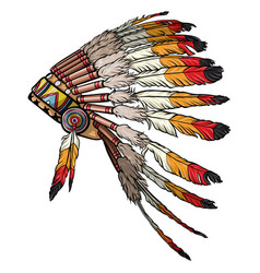 Indian headdress of feathers vector