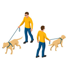 Isometric man with a dog on a leash man and dog vector