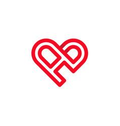 Letter a love outline creative business logo vector
