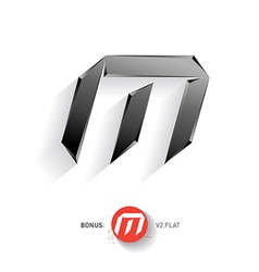 Letter M metal font Elegant Template for company vector