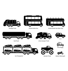 list special purpose vehicles icon set side vector image