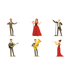 Men and women singers and musicians set vector